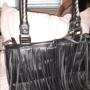 Steve Madden Bags - Steve Madden Black Leather Fringe Purse/Handbag